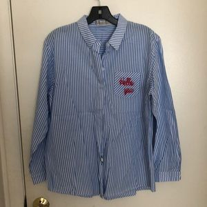 Blue and white button up